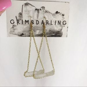 Grim & Darling white hang earrings crystals new